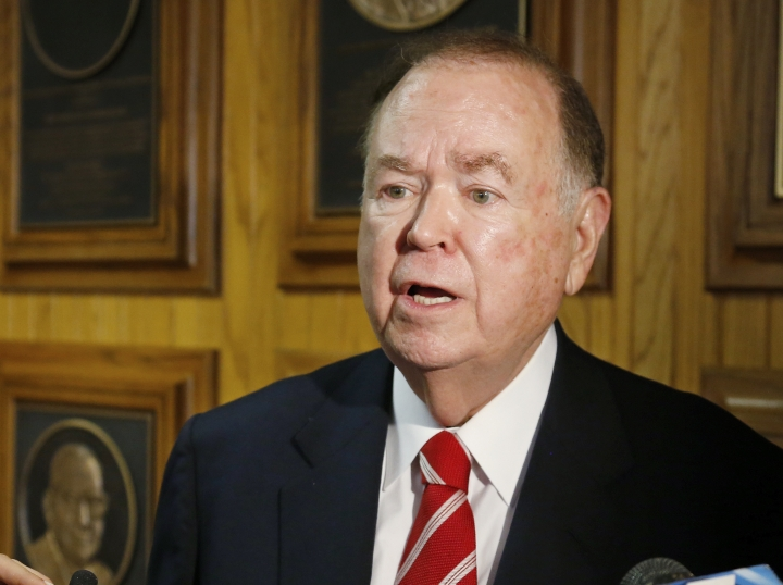 FILE - In this March 10, 2015 file photo, University of Oklahoma President David Boren talks with the media before the start of a Board of Regents meeting in Oklahoma City. The attorney for Boren says Boren has met with investigators looking into allegations he sexually harassed male subordinates. Attorney Clark Brewster told The Oklahoman that Boren met Friday, April 5, 2019 with investigators and answered all of their questions, but Brewster declined to discuss specific questions. (AP Photo/Sue Ogrocki, File)
