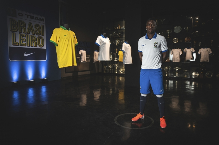 In this April 9, 2019 photo released by Nike, Brazil's soccer player Vinicius Junior models the new jersey that his national team will wear at this years' Copa America tournament in Rio de Janeiro, Brazil. The tournament will be played June 14 to July 7 in five Brazilian cities. (Pedro Martins/Nike via AP)