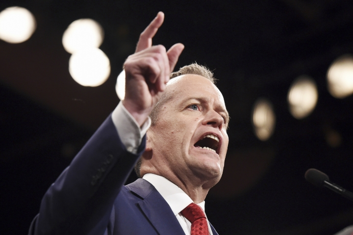 In this June 19, 2016, file photo, Australia's opposition Labor Party leader Bill Shorten speaks in Sydney. Shorten, an outspoken critic of U.S. President Donald Trump, is the favorite to become Australian prime minister. Shorten's party, the center-left Labor Party, has led the conservative coalition in most opinion polls in the last three years. (Mick Tsikas/Pool Photo via AP, File)