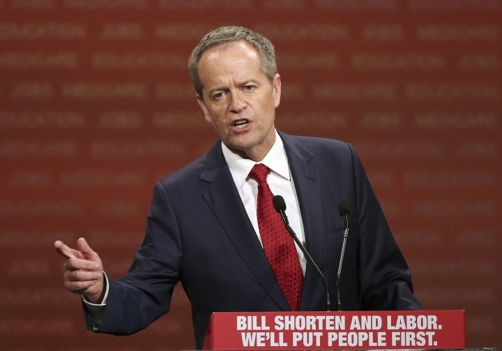 In this June 19, 2016, file photo, opposition Labor Party leader Bill Shorten delivers a speech in Sydney. Shorten, an outspoken critic of U.S. President Donald Trump, is the favorite to become Australian prime minister. Shorten's party, the center-left Labor Party, has led the conservative coalition in most opinion polls in the last three years. (AP Photo/Rob Griffith, File)
