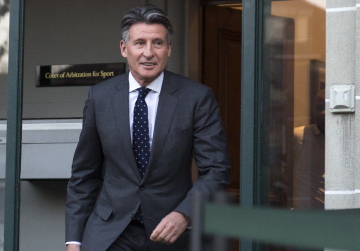 "FILE - In this Monday, Feb. 18, 2019, file photo, IAAF president Sebastian Coe leaves a hearing in Lausanne, Switzerland. Coe has been cleared of misleading British lawmakers about his knowledge of a Russian doping scandal. The IAAF's ethics board says it closed the investigation because no evidence showed ""any realistic prospect that any disciplinary case could be established."" (Laurent Gillieron/Keystone via AP, File)"