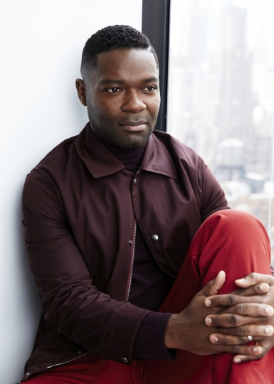 "This April 8, 2019 photo shows actor David Oyelowo posing for a portrait in New York to promote his PBS mini-series ""Les Miserables,"" premiering on Sunday. (Photo by Taylor Jewell/Invision/AP)"