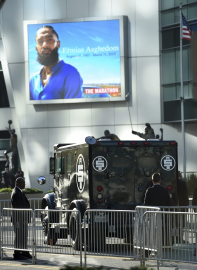 An armored vehicle belonging to the late rapper Nipsey Hussle, whose given name was Ermias Asghedom, appears at the Celebration of Life memorial service on Thursday, April 11, 2019, at the Staples Center in Los Angeles. (Photo by Chris Pizzello/Invision/AP)