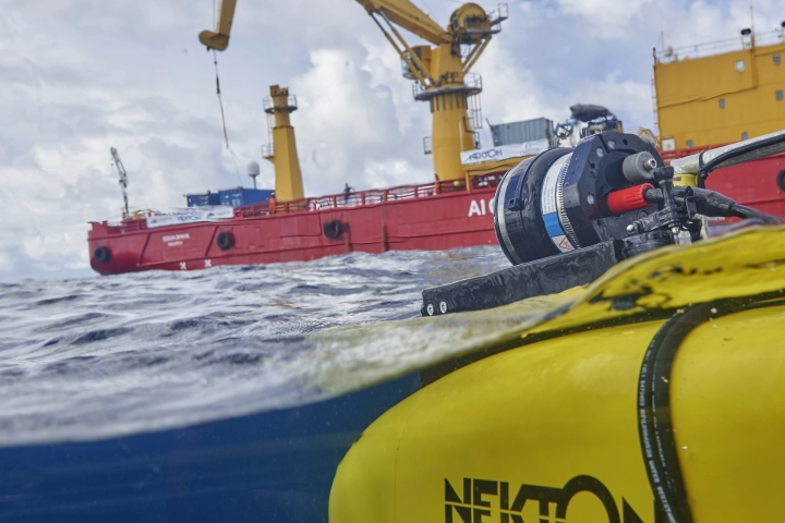 The manned submersible emerges from the water after a dive off the coast of the island of St. Joseph in the Seychelles, Monday April 8, 2019. For more than a month researchers from Nekton, a British-led scientific research charity, have been exploring deep below the waves to document changes taking place beneath the waves that could affect billions of people in the surrounding region over the coming decades. (AP Photo/David Keyton)