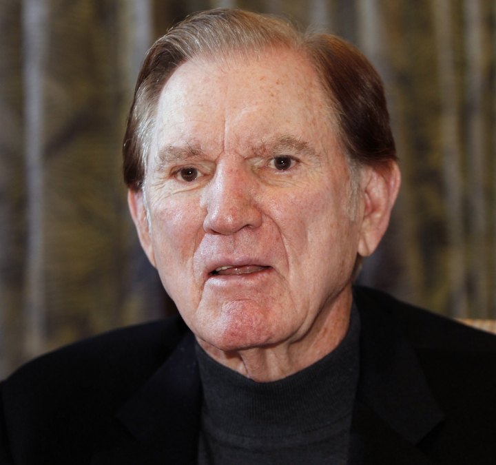 FILE - In this Nov. 14, 2011, file photo, Hall of Fame football player Forrest Gregg talks about his battle with Parkinson's disease during an interview in Colorado Springs, Colo. The Pro Football Hall of Fame says Green Bay Packers great Forrest Gregg has died. He was 85. The Hall did not disclose details about his death in its statement Friday, April 12, 2019. (AP Photo/Ed Andrieski, File)
