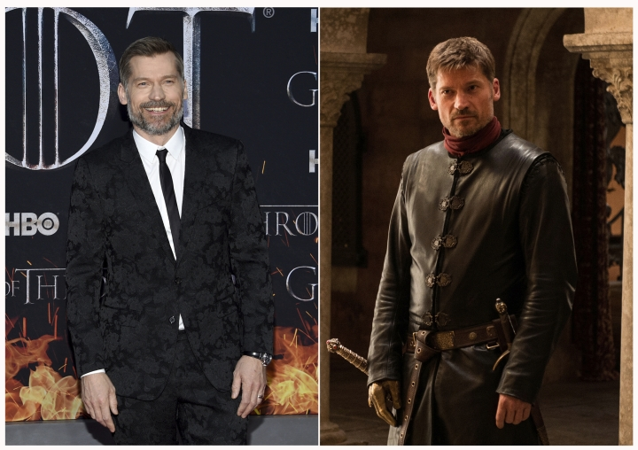 """This combination photo shows Nikolaj Coster-Waldau at HBO's """"Game of Thrones"""" final season premiere in New York on April 3, 2019, left, and his character Jaime Lannister. (Photos by Evan Agostini/Invision/AP, left, and HBO)"""