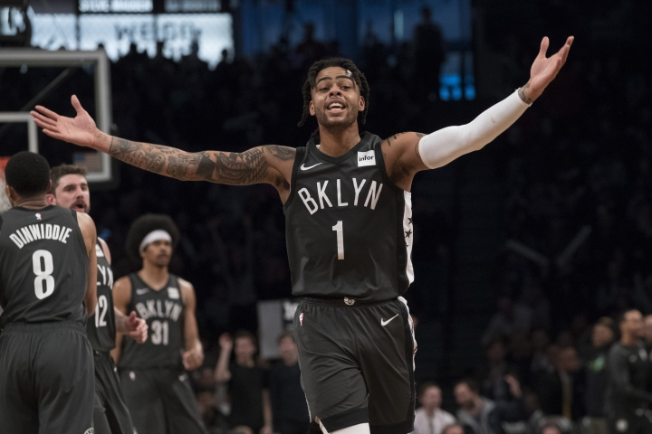 Brooklyn Nets guard D'Angelo Russell reacts after scoring during the second half of an NBA basketball game against the Boston Celtics, Saturday, March 30, 2019, in New York. The Nets won 110-96. (AP Photo/Mary Altaffer)
