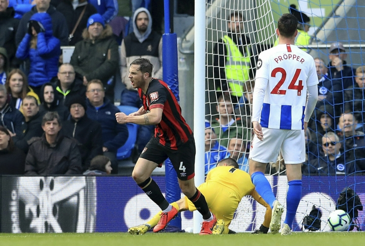 Bournemouth's Dan Gosling celebrates scoring his side's first goal of the game during their English Premier League soccer match against Brighton & Hove Albion at the AMEX Stadium, Brighton, England, Saturday, April 13, 2019. (Gareth Fuller/PA via AP)