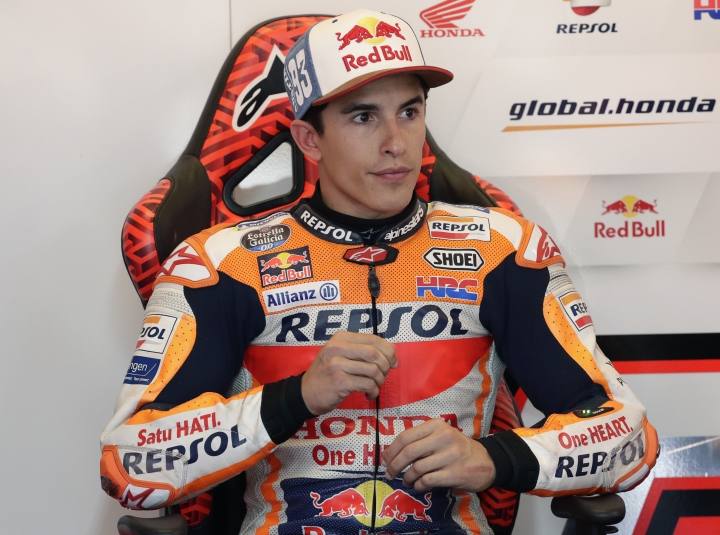 Marc Marquez (93), of Spain, sits in his garage as he prepares for a final practice session for the Grand Prix of the Americas motorcycle race at the Circuit Of The Americas, Saturday, April 13, 2019, in Austin, Texas. (AP Photo/Eric Gay)