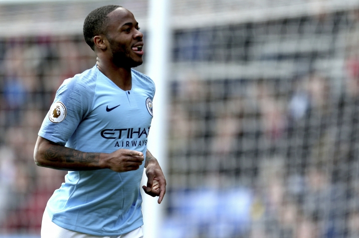 Manchester City's Raheem Sterling celebrates scoring his side's second goal of the game against Crystal Palace, during their English Premier League soccer match at Selhurst Park in London, Sunday April 14, 2019. (Steven Paston/PA via AP)