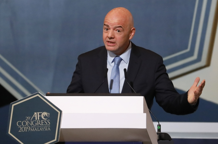 FIFA President Gianni Infantino speaks during the 29th AFC Congress in Kuala Lumpur, Malaysia, Saturday, April 6, 2019. The Asian Football Confederation holds its presidential election on Saturday. (AP Photo/Vincent Thian)