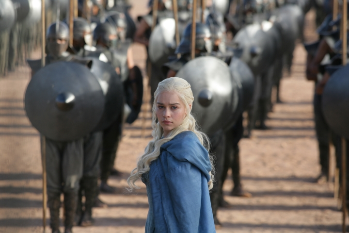 "This image released by HBO shows Emilia Clarke in a scene from ""Game of Thrones."" The final season premieres on Sunday. (HBO via AP)"