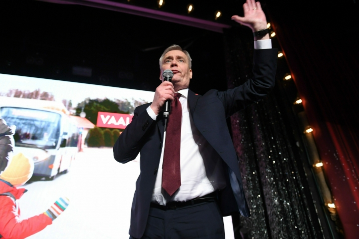 Chairman of the Finnish Social Democratic Party Antti Rinne at the Party's election party in Helsinki, Finland on Sunday, April 14, 2019. (Antti Aimo-Koivisto/Lehtikuva via AP)