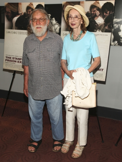 "FILE - In this July 15, 2015, file photo, Charles Gross, left, and Joyce Carol Oates attend the ""The Stanford Prison Experiment"" premiere at the Bow Tie Chelsea Cinemas in New York. Gross, a longtime Princeton professor of neuroscience and husband to author Oates, has died. He was 83. Oates said in an email Gross died from cancer Saturday, April 13, 2019, in Oakland, Calif. (Photo by Andy Kropa/Invision/AP, File)"