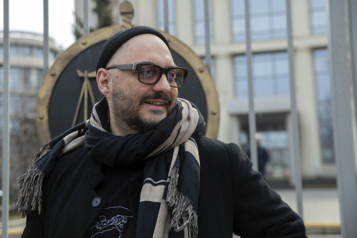 Russian theatre and film director Kirill Serebrennikov speaks to the media after a court hearing in Moscow, Russia, Monday, April 8, 2019. The Moscow City Court on Monday overturned a district court's decision to extend house arrest for Kirill Serebrennikov, and ordered him freed on his own recognizance until his trial. (AP Photo/Pavel Golovkin)