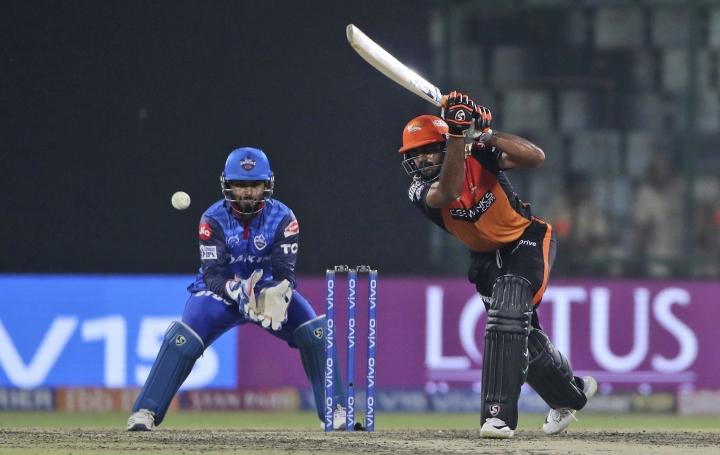 Sunrisers Hyderabad batsman Vijay Shankar plays a shot during VIVO IPL cricket T20 match against Delhi Capitals in New Delhi, India, Thursday, April 4, 2019. (AP Photo/Altaf Qadri)