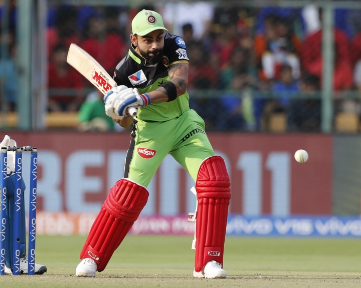 Royal Challengers Bangalore captain Virat Kohli bats during the VIVO IPL T20 cricket match between Royal Challengers Bangalore and Delhi Capitals in Bangalore, India, Sunday, April 7, 2019. (AP Photo/Aijaz Rahi)