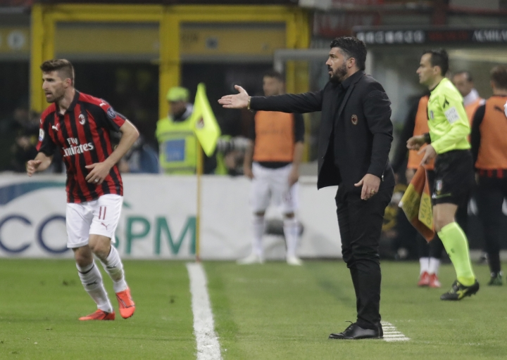AC Milan coach Gennaro Gattuso gives instructions from the side line during the Serie A soccer match between AC Milan and Lazio, at the San Siro stadium in Milan, Italy, Saturday, April 13, 2019. (AP Photo/Luca Bruno)