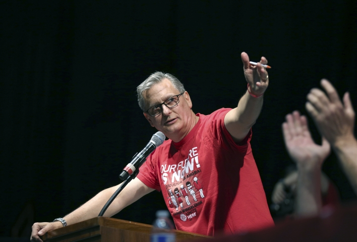 """FILE - In this Tuesday, May 22, 2018, file photo, Ted Pappageorge, president of the Culinary Workers Union, Local 226, speaks before a vote on whether to authorize a strike, in Las Vegas. Some key labor leaders say they are starting to worry about the topics dominating the 2020 conversation. """"They've got to pay attention to kitchen-table economics,"""" said Pappageorge. """"We don't quite see that."""" (Steve Marcus/Las Vegas Sun via AP, File)"""