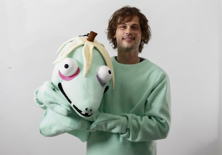 "This April 1, 2019 photo shows actor and author Matthew Gray Gubler poses for a portrait in New York wearing a costume of his title character in his children's book ""Rumple Buttercup: A Story of Bananas, Belonging and Being Yourself."" (Photo by Brian Ach/Invision/AP)"