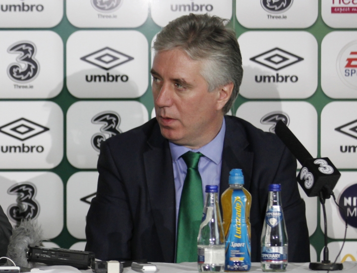 FILE - In this file photo dated Saturday, Nov. 9, 2013, Republic of Ireland's FAI chief executive John Delaney speak to the media in Dublin, Ireland. Delaney offered to step aside from his newly created role as executive vice president of the FAI (Football Association of Ireland) amid fallout from a financial controversy, The federation said Monday April 15, 2019. (AP Photo/Peter Morrison, FILE)