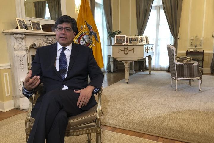 Ecuadorean Foreign Minister Jose Valencia speaks during an interview with The Associated Press at the residence of the ambassador of Ecuador to the U.S. in Washington, Monday April 15, 2019. (AP Photo/Luis Alonso Lugo)