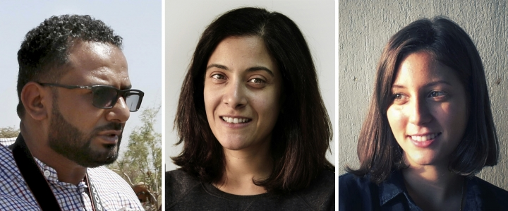 This photo combination shows Associated Press journalists, from left, videographer Maad al-Zikry, reporter Maggie Michael and photographer Nariman El-Mofty. The team won the 2019 Pulitzer Prize in international reporting for their work documenting torture, graft and starvation in Yemen's brutal civil war. (AP Photo)