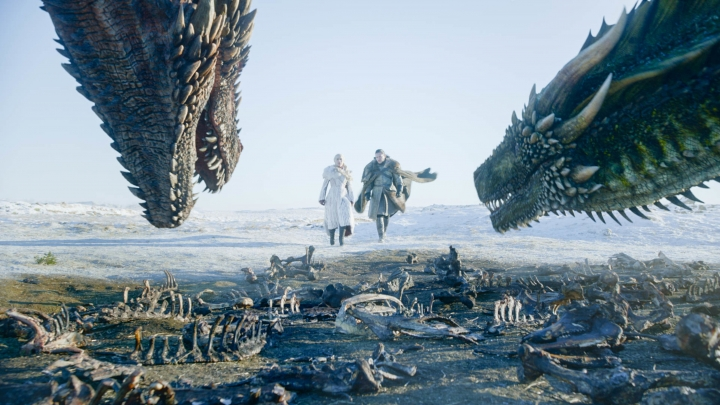 "This image released by HBO shows Emilia Clarke, left, and Kit Harington in a scene from ""Game of Thrones,"" premiering on Sunday, April 14. The first episode of the final season of ""Game of Thrones"" is a record-breaker for the series and HBO. The pay channel said the 17.4 million viewers who watched Sunday's episode either on TV or online represent a season-opening high for the fantasy saga. (HBO via AP)"