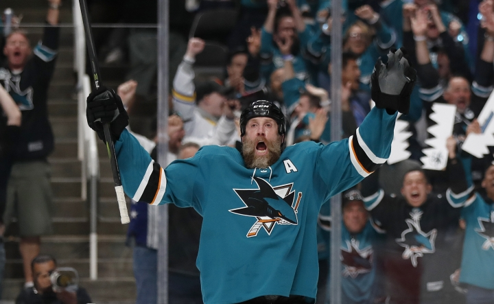 San Jose Sharks' Joe Thornton (19) celebrates his goal against the Vegas Golden Knights during the first period of Game 2 of an NHL hockey first-round playoff series Friday, April 12, 2019, in San Jose, Calif. (AP Photo/Josie Lepe)