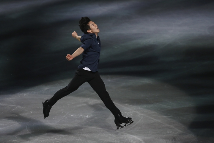 FILE - In this March 24, 2019, file photo, gold medalist Nathan Chen, from the United States, performs during the gala exhibition for the ISU World Figure Skating Championships at Saitama Super Arena in Saitama, north of Tokyo. All he's done since becoming an Ivy Leaguer is win the Grand Prix Final, a third straight U.S. figure skating championship, and repeat as world champion. Yale might have a strong hockey team, but Chen's hat trick can't be matched by any of the Bulldogs. (AP Photo/Annice Lyn, File)