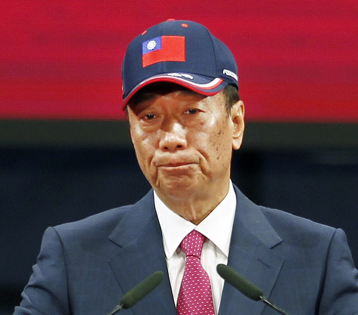 FILE - In this Feb. 2, 2019, file photo, Terry Gou , chairman of Hon Hai Precision Industry Co. Ltd., also known as Foxconn, delivers a speech during the company's annual carnival for employees in Taipei, Taiwan. The head of Foxconn Technology Group said Monday, April 15, 2019, he is planning to step away from day-to-day operations at the world's largest electronics provider. Gou said that he wants to work on a book about his management philosophy honed over 45 years and prepare a younger generation to eventually take over operations at the company. (AP Photo/Chiang Ying-ying, File)