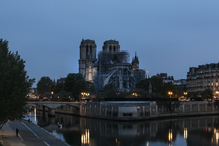 The Notre Dame cathedral is seen after the fire in Paris, Tuesday, April 16, 2019. A catastrophic fire engulfed the upper reaches of Paris' soaring Notre Dame Cathedral as it was undergoing renovations Monday, threatening one of the greatest architectural treasures of the Western world as tourists and Parisians looked on aghast from the streets below. (AP Photo/Kamil Zihnioglu)