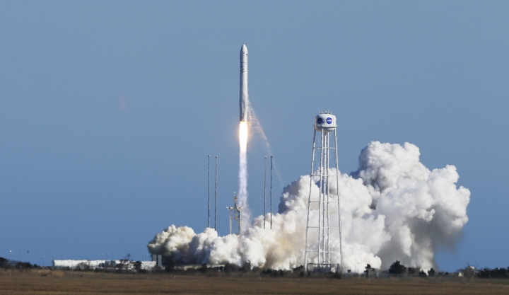 Northrop Grumman's Antares rocket lifts off the launch pad at NASA Wallops Flight Facility in Wallops Island, Va., Wednesday, April 17, 2019. A fresh grocery shipment is on its way to the International Space Station after launching from Virginia. (AP Photo/Steve Helber)