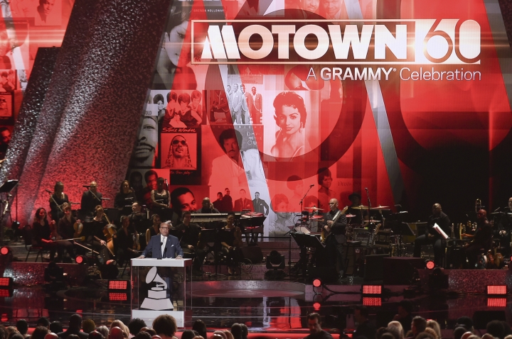 """FILE - In this Feb. 12, 2019 file photo, Berry Gordy speaks onstage during Motown 60: A GRAMMY Celebration at the Microsoft Theater in Los Angeles. Motown Records founder Gordy says his historic label brought people from all walks of life through a """"legacy of love"""" at the """"Motown 60: A Grammy Celebration"""" during a taped tribute that will air Sunday, April 21 on CBS. (Photo by Richard Shotwell/Invision/AP, File)"""