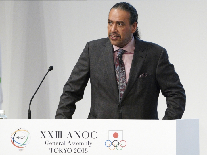 "FILE - In this file photo dated Wednesday, Nov. 28, 2018, Sheikh Ahmad al-Fahad al-Sabah, president of the Association of National Olympic Committees (ANOC) delivers a speech during the ANOC general assembly in Tokyo. In a letter seen by The Associated Press Thursday April 18, 2019, Mariyam Mohamed of Maldives, who lost an election to join FIFA's ruling council earlier this month, has filed a formal complaint alleging ""threats and manipulation"" by Olympic power broker Sheikh Ahmad al-Fahad al-Sabah. (AP Photo/Eugene Hoshiko, FILE)"