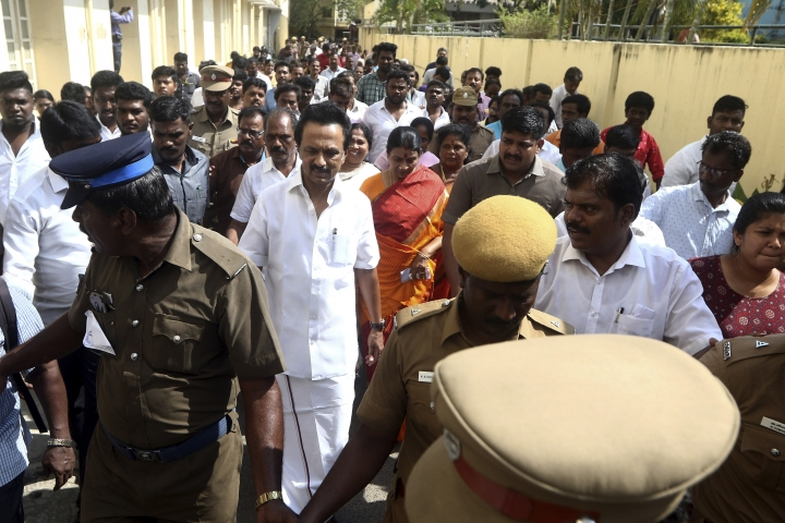 Dravida Munnetra Kazhagam (DMK) leader M.K. Stalin walks outside a polling station after casting his vote during the second phase of India's general elections in Chennai, India, Thursday, April 18, 2019. The Indian election is taking place in seven phases over six weeks in the country of 1.3 billion people. Some 900 million people are registered to vote for candidates to fill 543 seats in India's lower house of Parliament. (AP Photo/R. Parthibhan)