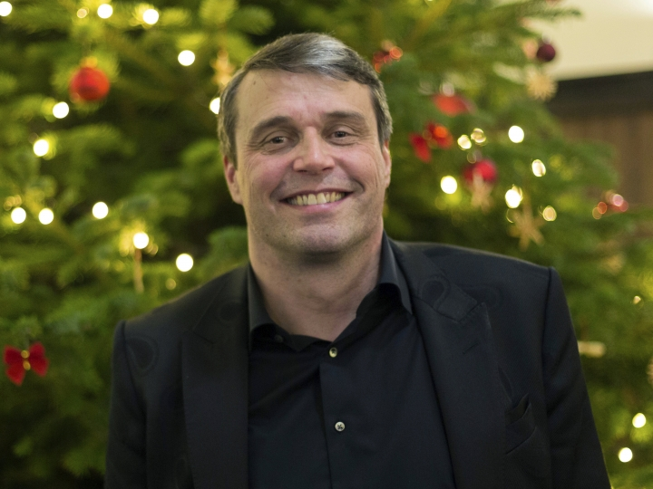 FILE - In this file photo dated Friday, Dec. 8, 2017, Ostersunds FK chairman Daniel Kindberg poses at the team's party after its 1-1 Europa League draw with Hertha Berlin in Berlin, Germany. Kindberg will go to court next week, April 22, 2019, accused of serious financial crimes allegedly involving funnelling taxpayers' money into Ostersund soccer club (AP Photo/Ciaran Fahey, File)