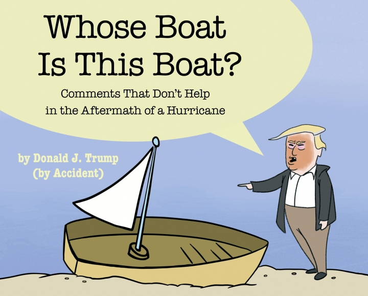"This cover image released by Simon & Schuster shows ""Whose Boat Is This Boat?: Comments That Don't Help in the Aftermath of a Hurricane,"" by The Staff of The Late Show with Stephen Colbert. Colbert has donated proceeds from his Hurricane Florence-related book to disaster-relief efforts in North Carolina. The Raleigh News & Observer reported Thursday, April 18, 2019, that the comedian sent a check for $412,412 to Gov. Roy Cooper. The governor posted a ""thank-you"" on Facebook. (Simon & Schuster via AP)"