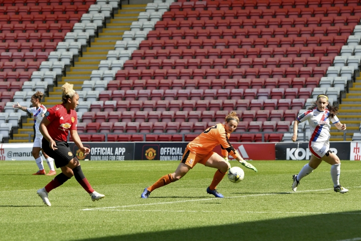 Manchester United's Lauren James scores her side's seventh goal of the game during the FA Women's Championship soccer match between Manchester United and Crystal Palace at Leigh Sports Village, Manchester, England. Saturday April 20, 2019. (Anthony Devlin/PA via AP)