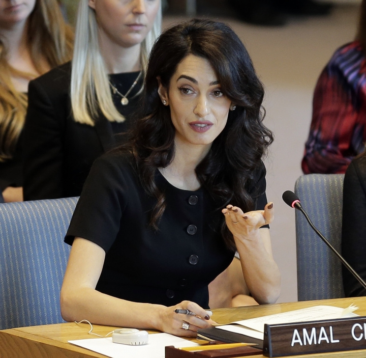 Amal Clooney speaks during a Security Council meeting on sexual violence at United Nations headquarters, Tuesday, April 23, 2019. (AP Photo/Seth Wenig)