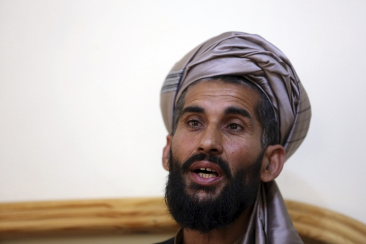 In this Tuesday, April 23, 2019, photo, Masih Rahman speaks during an interview with the Associated Press in Kabul, Afghanistan. In September last year Masih Rahman's entire family of 11 people, his wife, four daughters, three sons and four nephews, were killed when a bomb flattened their home in Mullah Hafiz village in Jaghatu district of Afghanistan's central Maidan Wardak province. Afghan and international forces had killed more civilians than insurgents in the first three months of the year, the U.N. announced Wednesday, the first time the deaths caused by the government and its allies exceeded their enemies. (AP Photo/Rahmat Gul)