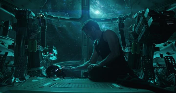 "This image released by Disney shows Robert Downey Jr. in a scene from ""Avengers: Endgame."" (Disney/Marvel Studios via AP)"