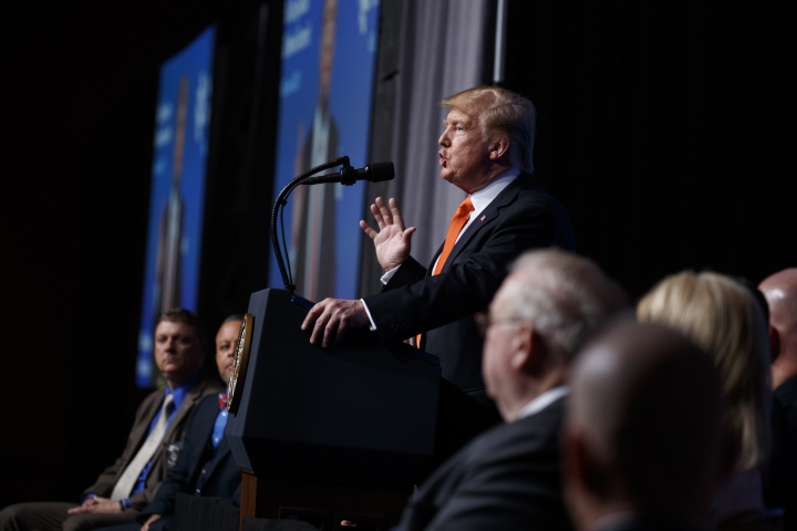 """President Donald Trump speaks to the """"Rx Drug Abuse and Heroin Summit,"""" Wednesday, April 24, 2019, in Atlanta. (AP Photo/Evan Vucci)"""