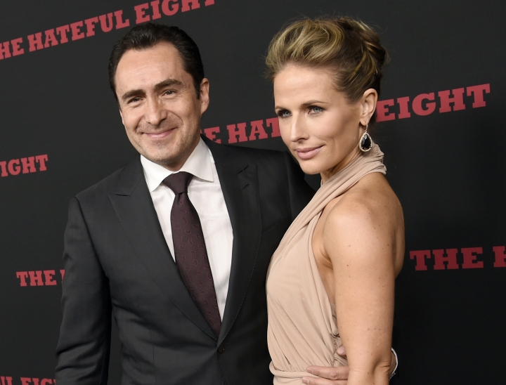 "FILE - This Dec. 7, 2015 file photo shows Demian Bichir, a cast member in ""The Hateful Eight,"" and his wife Stefanie Shirk at the premiere of the film in Los Angeles. Bichir announced the passing of his wife in a heartfelt message on Instagram. The Mexican actor wrote Wednesday, April 24, 2019, that Sherk died ""peacefully"" on April 20. She was 37. (Photo by Chris Pizzello/Invision/AP, File)"