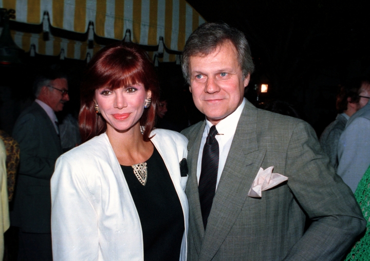 "FILE - This June 13, 1986 file photo shows actress Victoria Principal, left, and actor Ken Kercheval, co-stars of the popular TV-show ""Dallas."" Kercheval, who played Cliff Barnes on the hit TV series ""Dallas"" has died at age 83. Agent Jeff Fisher said Kercheval died Easter Sunday in Clinton, Ind. (AP Photo/Craig Mathew, File)"