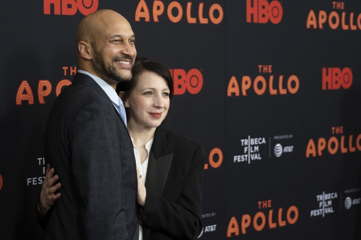 """Keegan-Michael Key and Elisa Pugliese attend the screening for """"The Apollo"""" during the 2019 Tribeca Film Festival at the Apollo Theater on Wednesday, April 24, 2019, in New York. (Photo by Charles Sykes/Invision/AP)"""