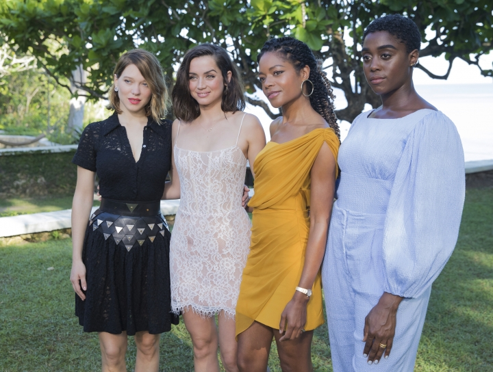 Actresses Lea Seydoux, from left, Ana de Armas, Naomie Harris and Lashana Lynch pose for photographers during the photo call of the latest installment of the James Bond film franchise, currently known as 'Bond 25', in Oracabessa, Jamaica, Thursday, April 25, 2019. (AP Photo/Leo Hudson)