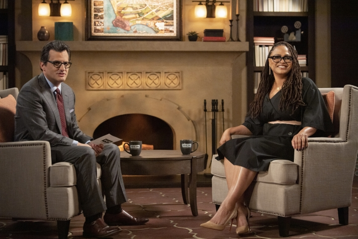 """This image released by TCM shows TCM Primetime host Ben Mankiewicz, left, and director Ava DuVernay who is bringing 17 of her favorite classic films to Turner Classic Movies' """"The Essentials"""" series. (Anne Marie Fox/TCM via AP)"""