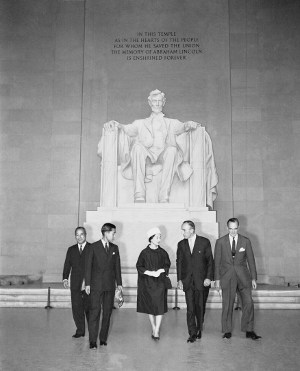 In this Sept. 27, 1960, photo, Crown Prince Akihito of Japan visits the Lincoln Memorial in Washington DC. Left to right; Japanese Ambassador Koichiro Asakai, Akihito, Princess Michiko, US Ambassador to Japan Douglas MacArthur II and deputy chief of protocol Clement Conger. The Japanese royals are in Washington as part of the state visit. (AP Photo)