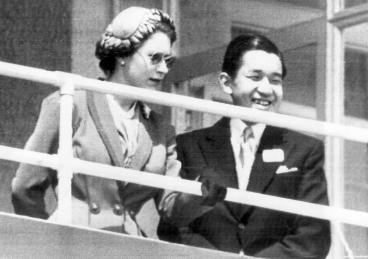 Queen Elizabeth II, relaxing from the coronation ceremonies, is joined by Japan's heir apparent, Japan's Prince Akihito, in the royal box as they watch running of Epsom Derby at Britain's Epsom Downs, June 6, 1953. The Queen saw her horse, Aureole, run second in the classic. When he abdicates April 30, 2019, Akihito will become the first emperor in Japan's modern history to see his era end without ever having a war. (AP Photo)
